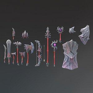 Fantasy Weapon Stone set 3D model