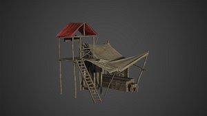 Medieval Old Wood Bazaar Shop 3D model