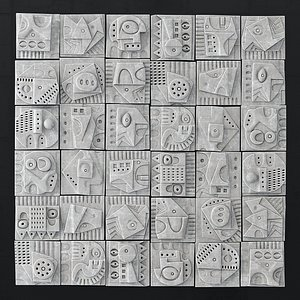 3D Wall tile decorative pattern hieroglyph n1 model