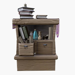 3D Stylized medieval wide cupboard with items gamereadyce painter model