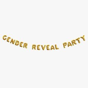 Foil Baloon Words Gender Reveal Party Gold 3D model