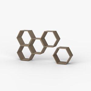 3D shelf hexagon model
