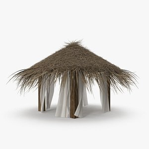 3D Straw Beach Tent with Curtains model