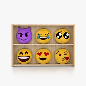 3D Emoji Cushion Shelf model