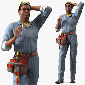 3D Light Skin Black Man Electrician