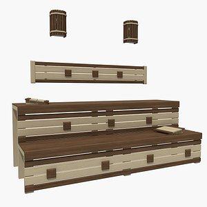 3D sauna bench 02 model