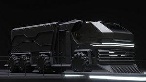 Scifi futuristic cyberpunk truck 3D model
