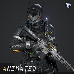 scifi - urban soldier 3D model