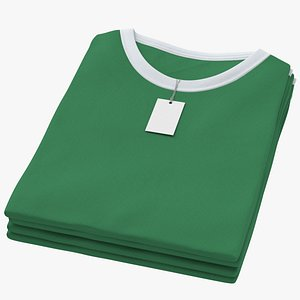 3D Female Crew Neck Folded Stacked With Tag White and Green 02