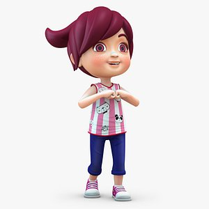 girl baby cartoon 3D model