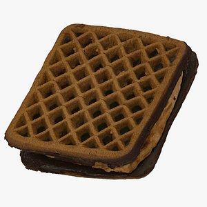 3D Chocolate Cream Waffle Cookie 01 RAW Scan
