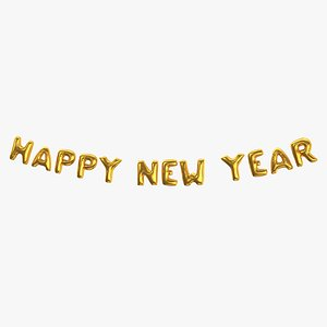 3D Foil Baloon Words Happy New Year Gold model