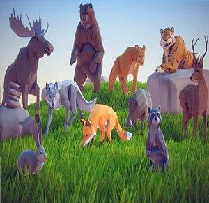 art forest set animal 3D model