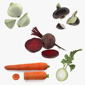 Cut Vegetables Collection 3D model