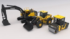 3D Collection Construction Equipment Volvo model