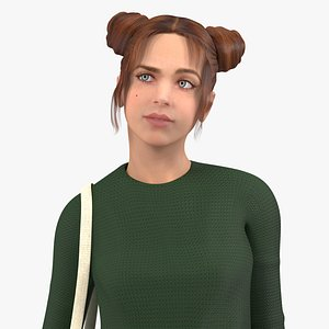3D model Urban Style Young Woman Rigged for Cinema 4D
