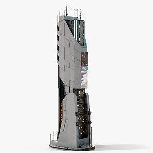 3D Sci-Fi Futuristic Skyscraper PBR 10