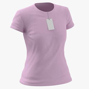 Female Crew Neck Worn With Tag Pink 3D model