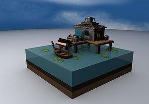 3D Pond wild house cabin cartoon fish house model
