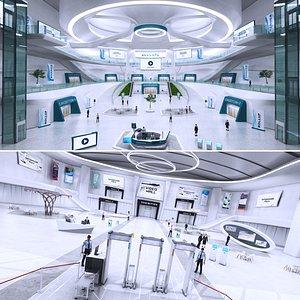3D Futuristic E-Congress Lobby Centre Collection