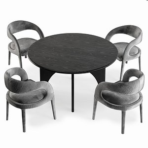 3D dining table chair timber