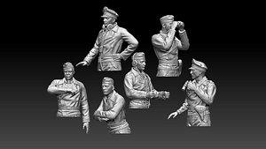 3D model German tank crew ww2
