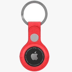 AirTag Leather Key Ring Red model