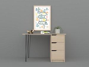 3D Desk in home D8 model