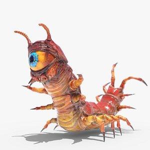 eyeball centipede monster rigged 3D