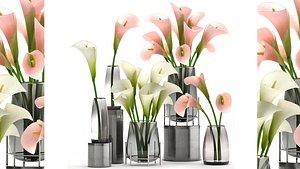 3D Calla flower bouquet in a Vase 114 model