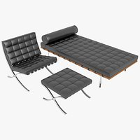 Knoll Black Leather Barcelona Chair Couch and Stool Ottoman Set