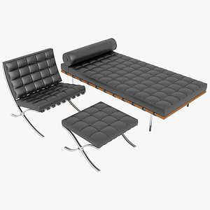 Knoll Black Leather Barcelona Chair Couch and Stool Ottoman Set 3D model