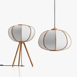 3D model H and M Bamboo Pendant Light and  Floor Lamp Set