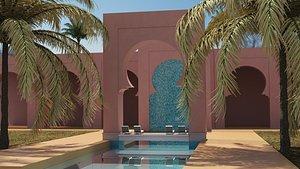 3D moroccan hallway model