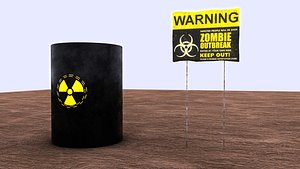 barrel warning 3D model
