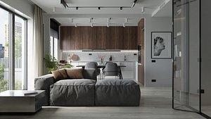Modern Apartment interior 50sqm 3D model