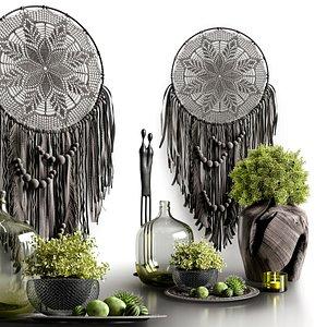 Decorative set in dark colors 3D model