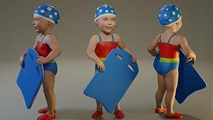 3D model child female swwimmingpool swim pool