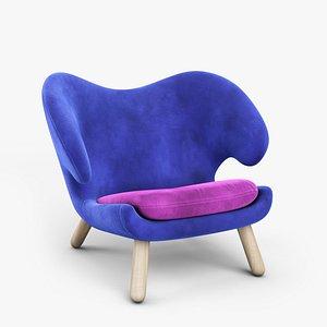 3D 1940s Pelican Chair by Finn Juhl
