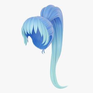 3D Long Ponytail Poly Hair