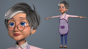3D model Cartoon Old Woman GrandMa NoRig
