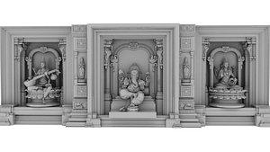 3D model god lakshmi ganesh saraswati 3d model