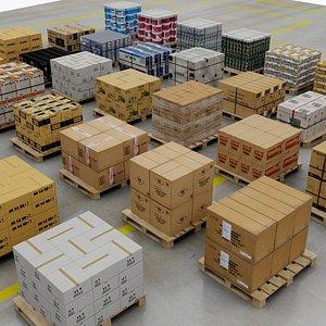 set palletes warehouse 3D model