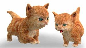 3D cute hair fur cat