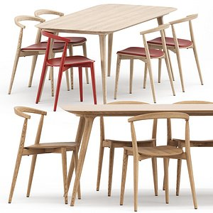 Newood light chair and Zio Dining Table 3D model