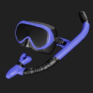 Scuba mask with snorkel 3D model