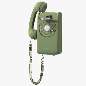 Vintage Corded Rotary Wall Phone Green model