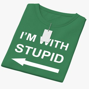 Female Crew Neck Folded With Tag Green Im With Stupid 02 3D model