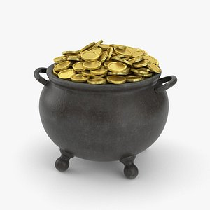 3D model Pot with Gold Coins