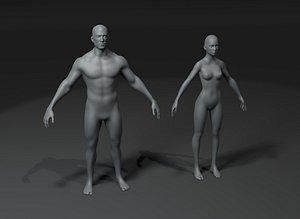 3D base mesh male model